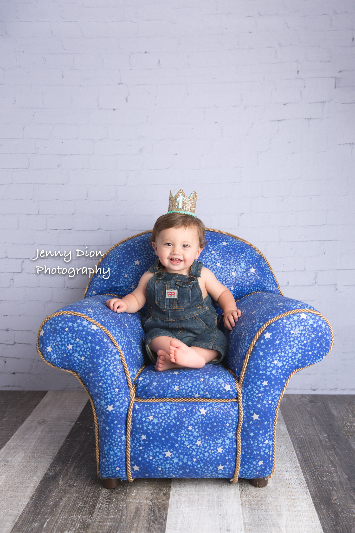Grandma made this special chair for him. He looks like a king in his throne, doesn't he?