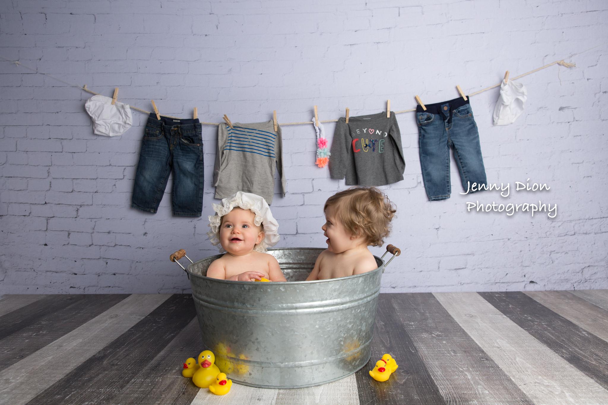 Rub-A-Dub-Dub, twins in a tub!