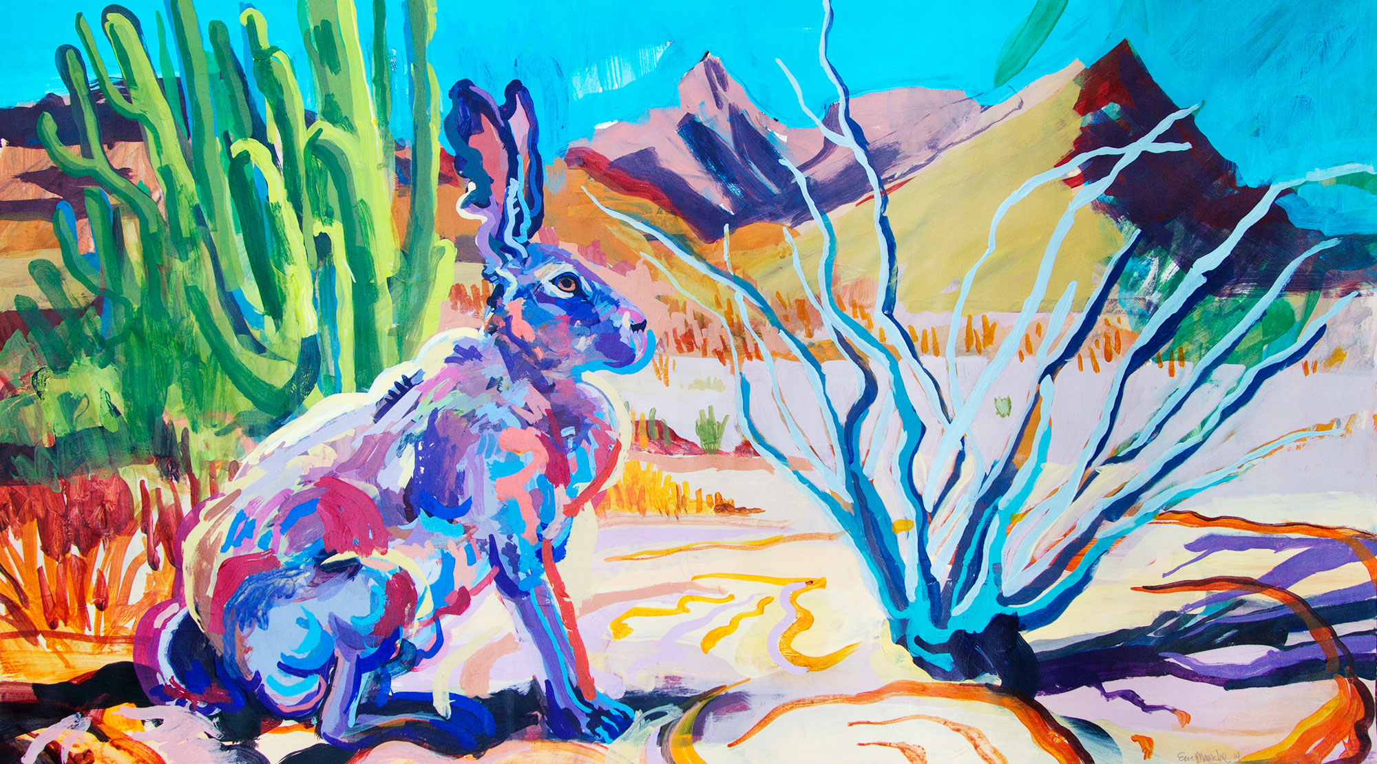 "Rabbitworld, 2015, acrylic on paper, 58"" x 24"""
