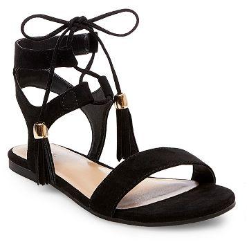Tassle Black Sandals
