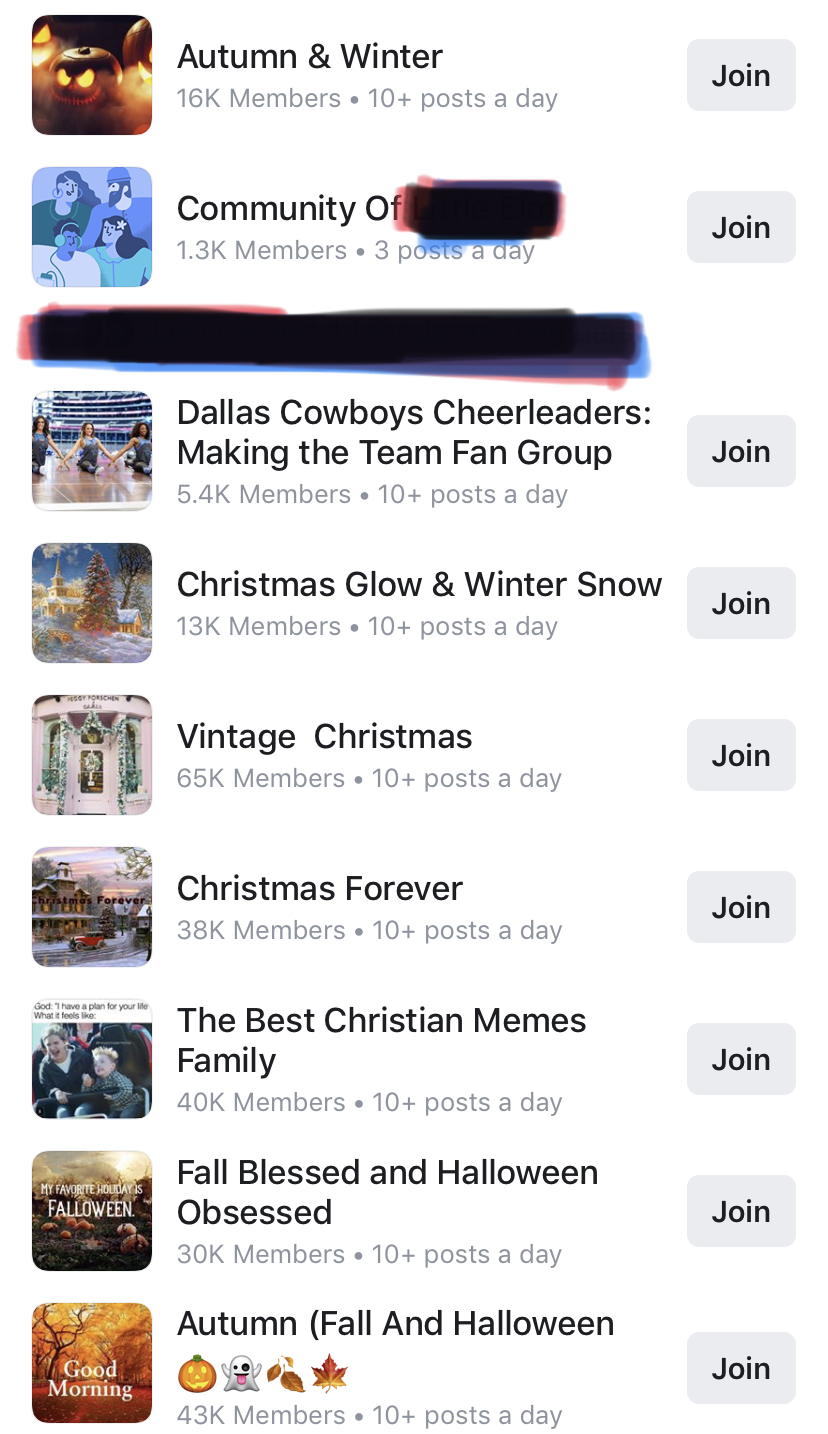 FB groups - Facebook recommended some groups for me to join. Can you tell what my primary interests are? If you know me, then it's not shocking at all!