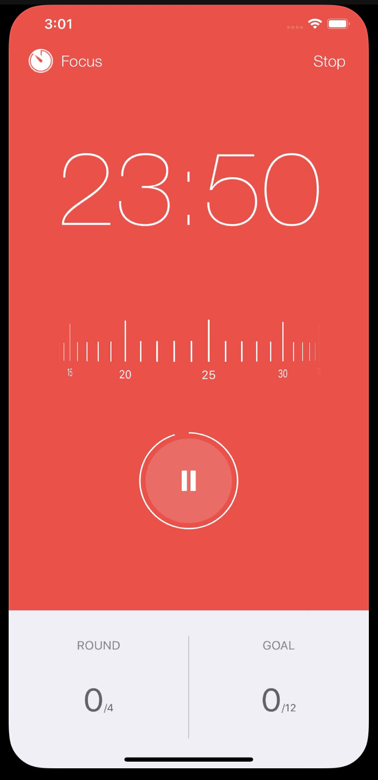 Screenshot of focus keeper app, found in Apple and Google Play Store