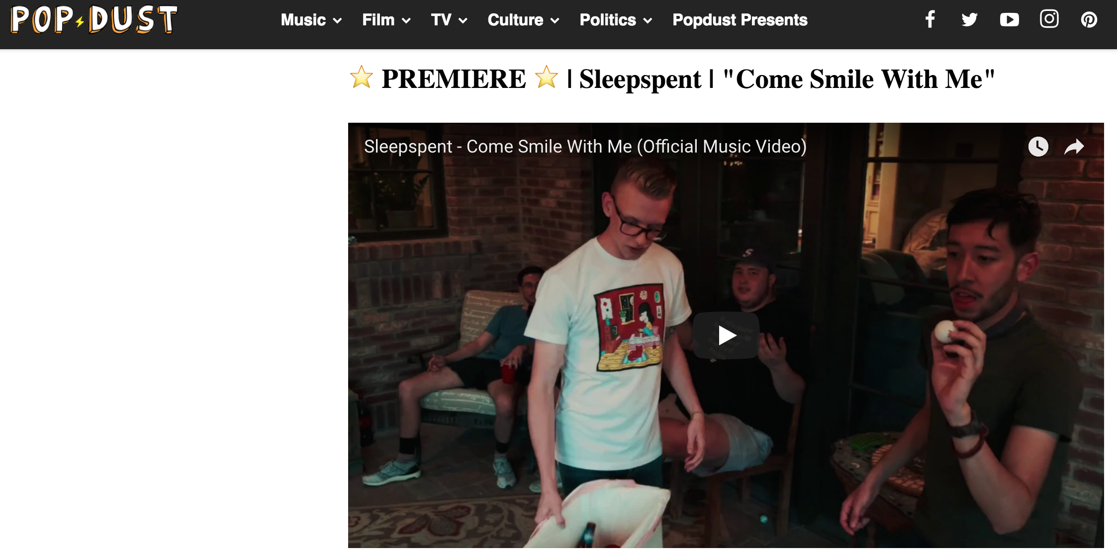 """The cheeky new video from El Paso indie rock group Sleepspent guides us through a lively house party--and it's inevitable demise."""
