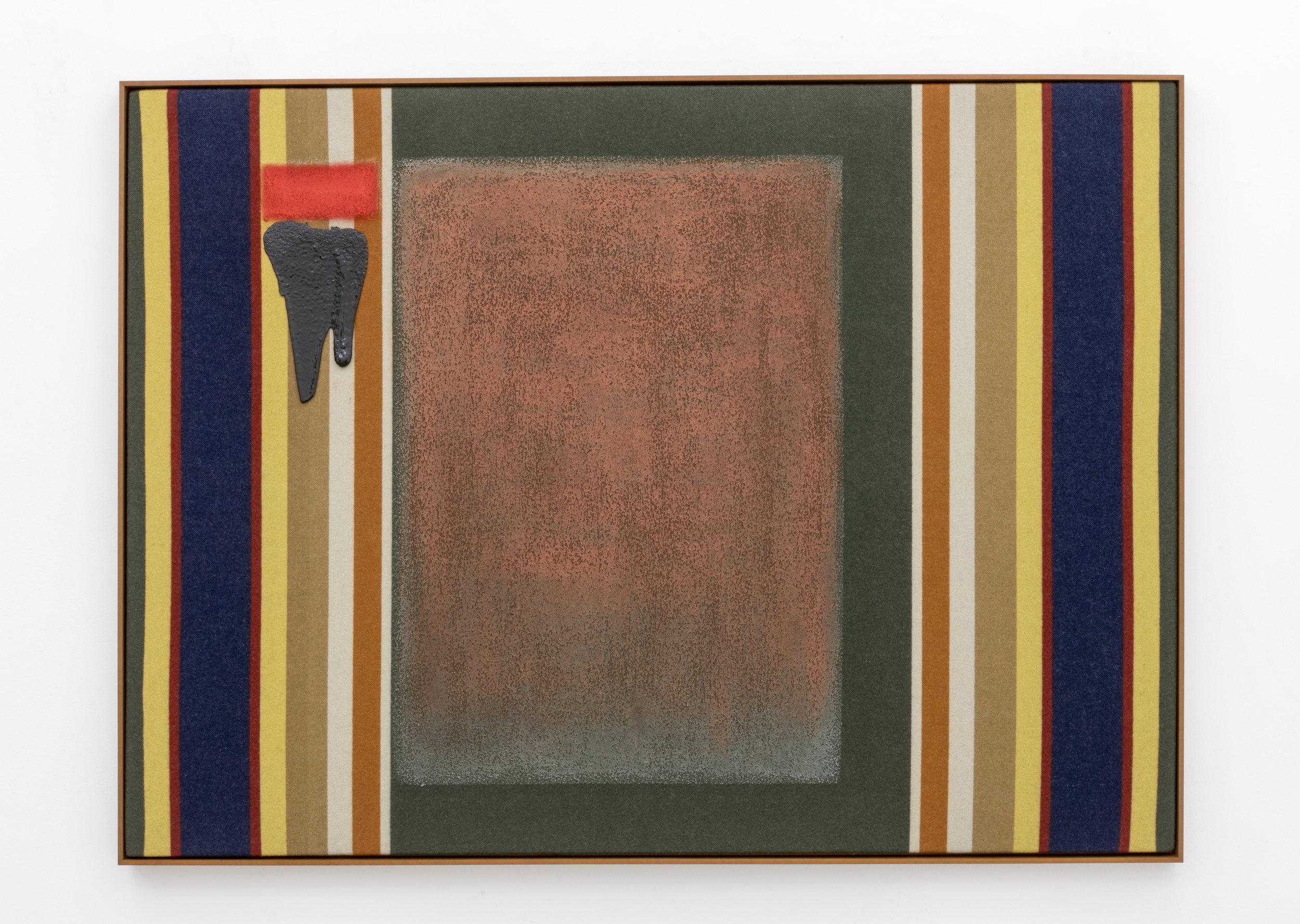 Untitled (Badlands),  2018  Pendleton Wool, Oil Stick  55 x 72 x 2 in  Photo: Tara J Graves