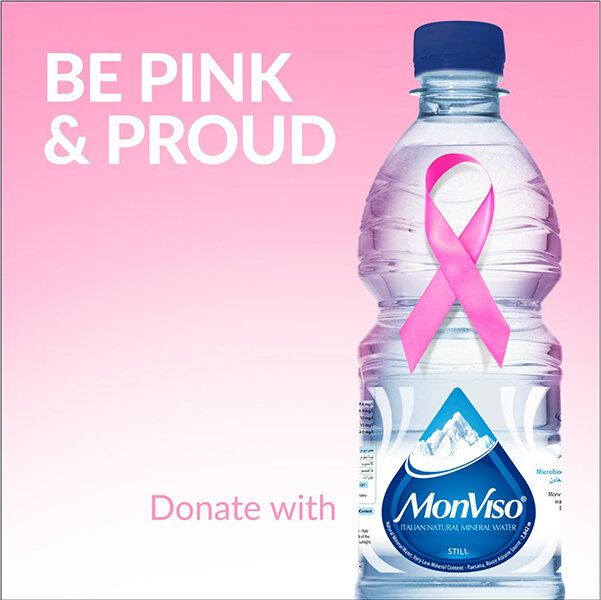 Join the fight against breast cancer with MonViso! For every litre of water sold during the month of October, AED 1 will be donated to the Breast Friends for Cancer initiative to support breast cancer research and awareness.