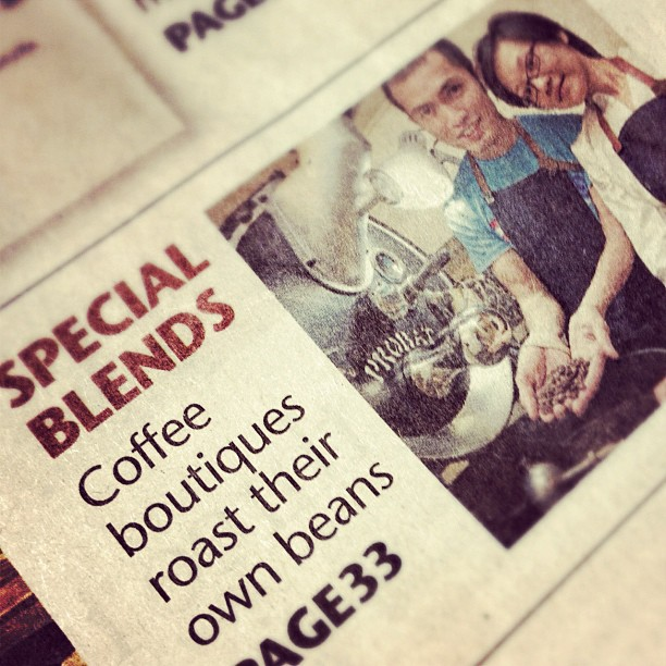 Interesting article about the local roasting scene, bustling with old and new players, fresh optimism and new challenges.   In case you missed it, you might have to go dig up the Life section of 2 Sept edition  Sunday Times .