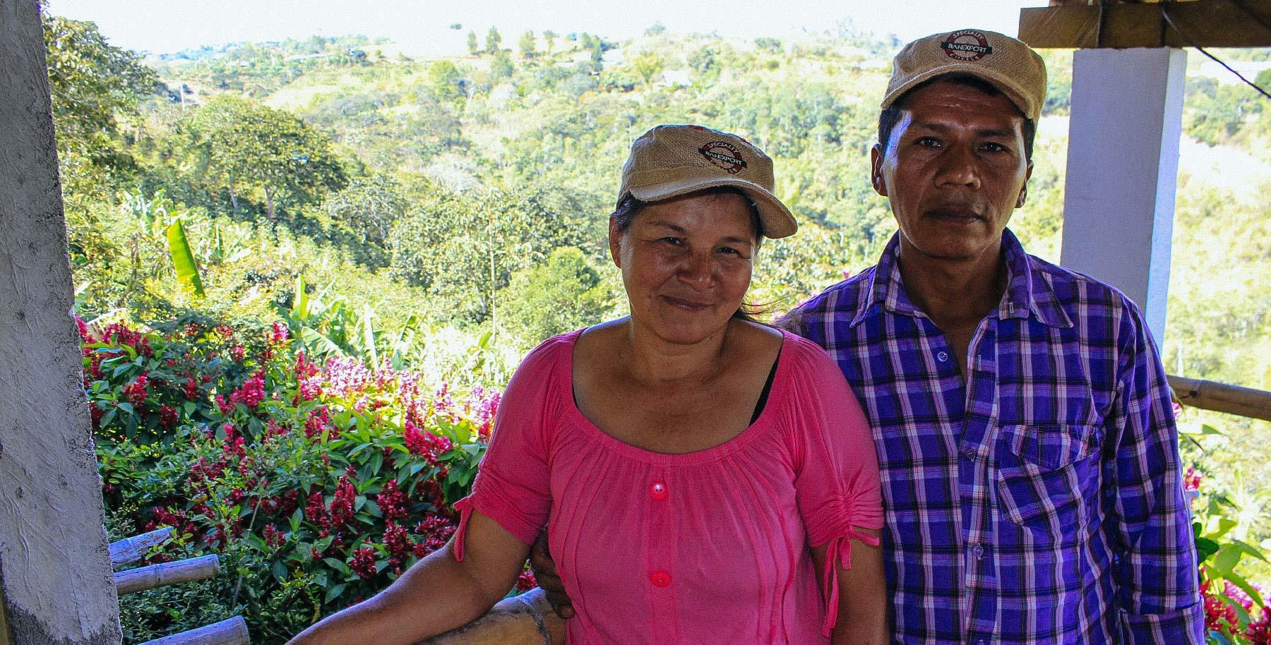 Martha Luz Peña and Luis Alberto Chate overlooking their farm