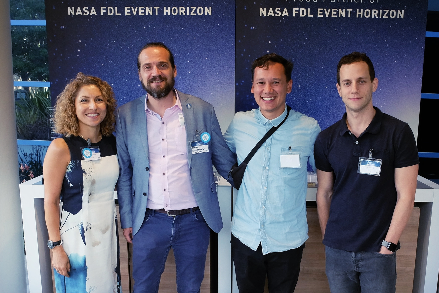 This summer the Explainables Amran and Daniel met now XPRIZE CEO  Anousheh Ansari  and her team at NASA FDL event horizon. They immediately talked about how they could work together. Can you spot the Explainables sticker on Anousheh's name tag?  Below: during visioneering 2018 Explainable Daniel Angerhausen made a lot of new interesting contacts - for example Pharrell Williams, Robert Picardo, Saul Perlmutter and Erik Lindberg. Stay tuned for some new projects brewing with them.