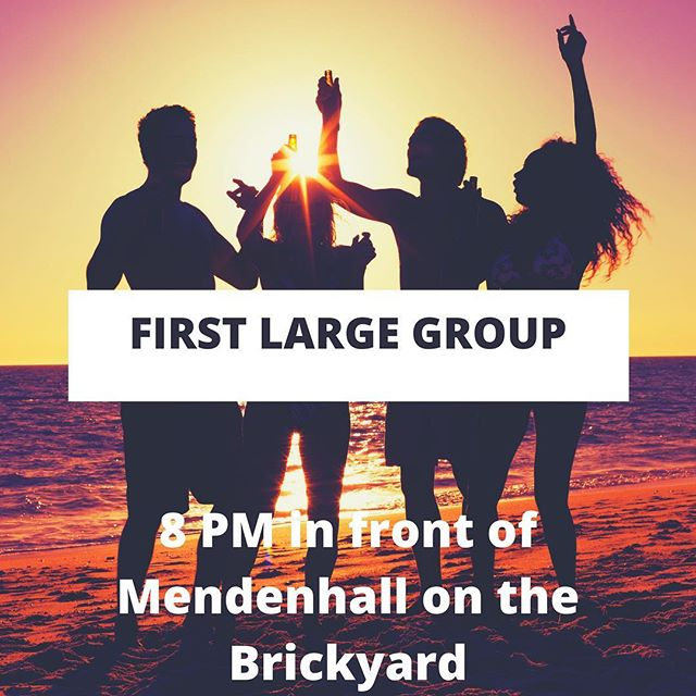 It's a day to celebrate! We have our first large group of the year! Come out and join us tonight at 8pm in front of Mendenhall for a fun time in the Lord.