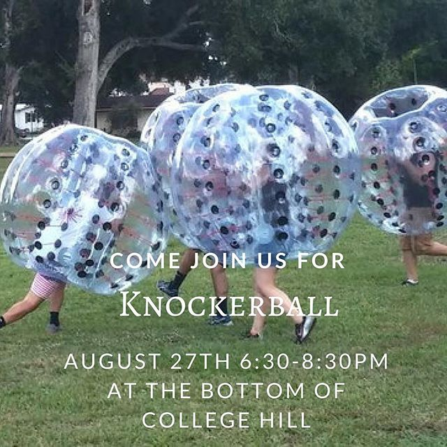Good morning everyone! Knockerball is back on tonight at 6:30PM. Come join us at the bottom of college hill for a great way to relieve your stress from the first week of classes!