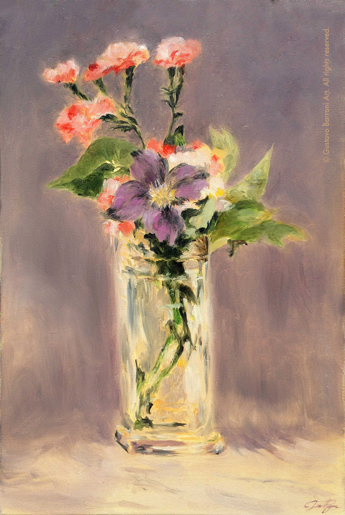 Copy of PINKS AND CLEMATIS IN A CRYSTAL VASE