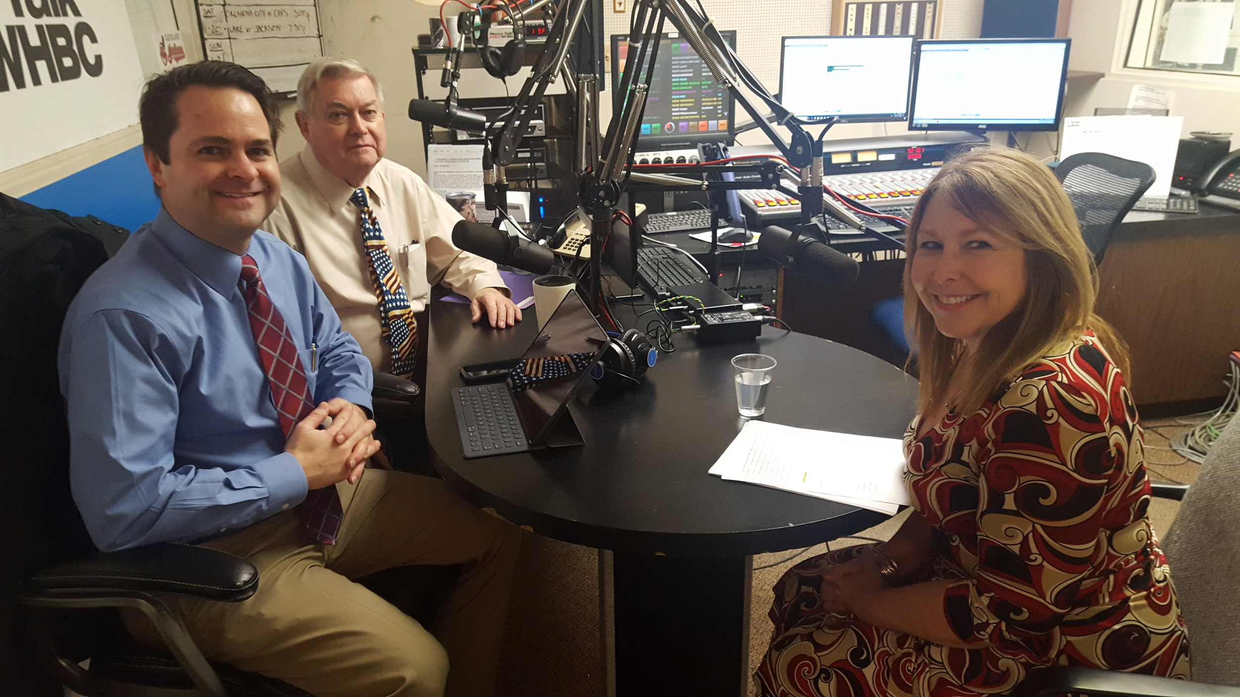 L-R: Health Matters hosts and pharmacists, Brad and Paul White with Valerie Stutler, social events coordinator for the Canton office of the American Heart Association.