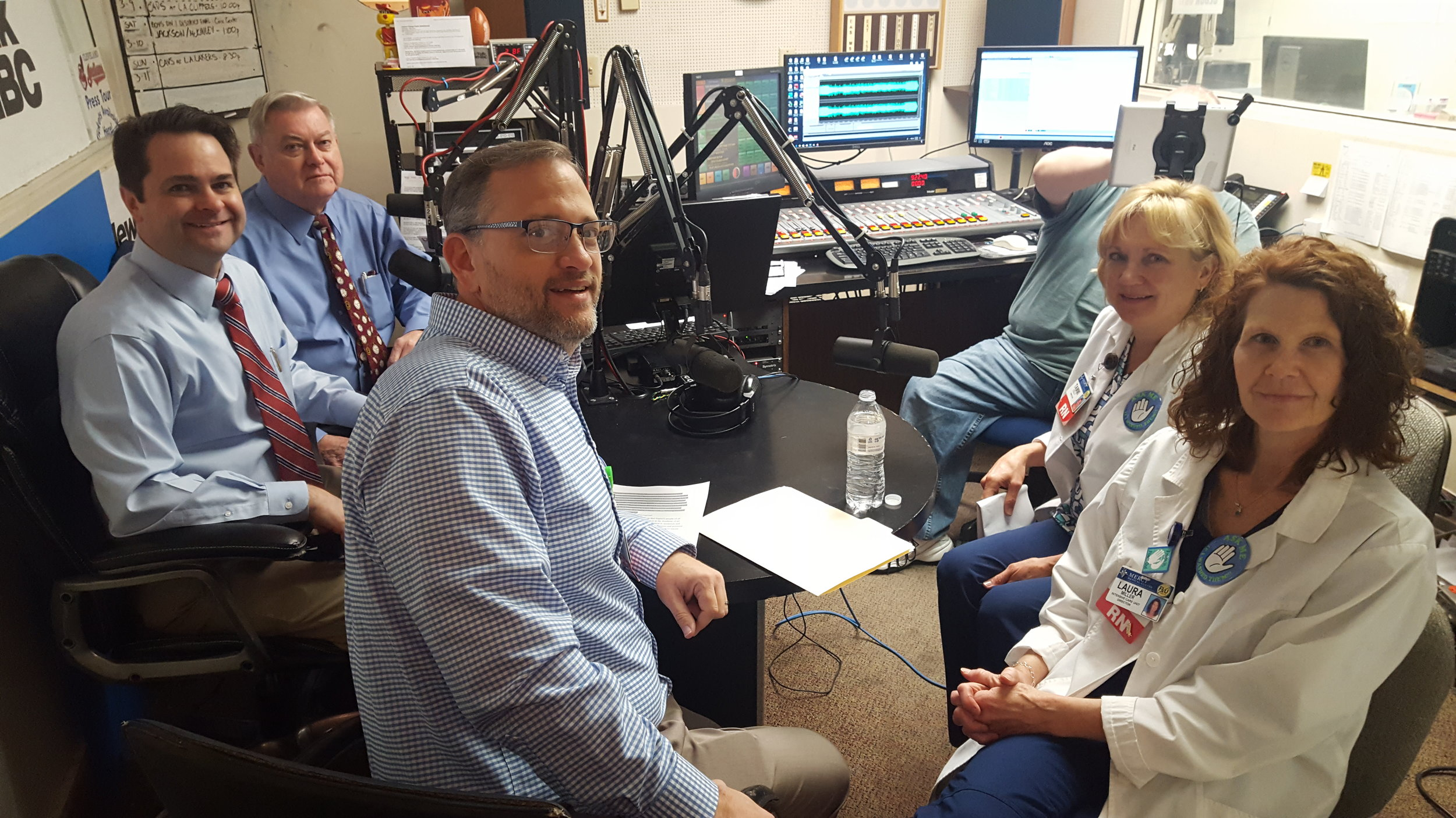L-R: Hosts Brad White, R.Ph. and Paul White, R. Ph. are joined in the studio by Mercy Medical Center's Daniel Lane, Registered Nurse and Director of Quality & Risk Management, Laura Miller, MSN and Director, ICU/Dialysis, and Tammi Colly, RN, MSN, 5 Main/10Main Nursing Director