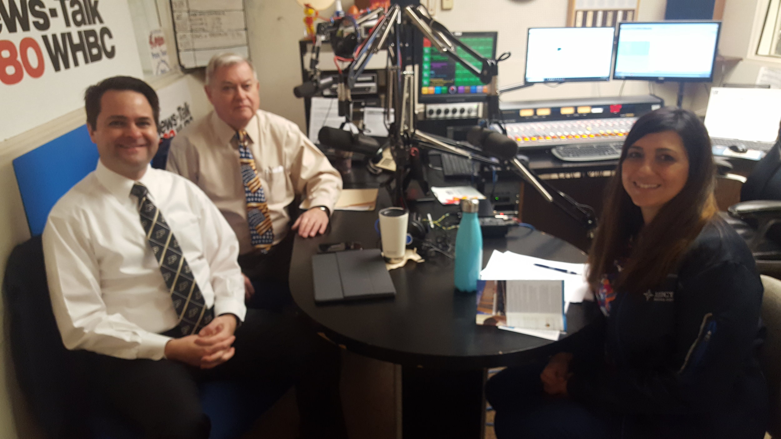 Pictured (L-R): Health Matters Hosts Brad White, R. Ph., and Paul White, R. Ph., and HAVEN Program Manager Sarah Schemmel.