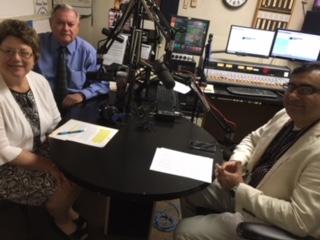 L-R: Medicine Center Pharmacy Executive VP Nancy Wharmby and Pharmacist and Host Paul White talk with Dr. Rizwan Sardar.