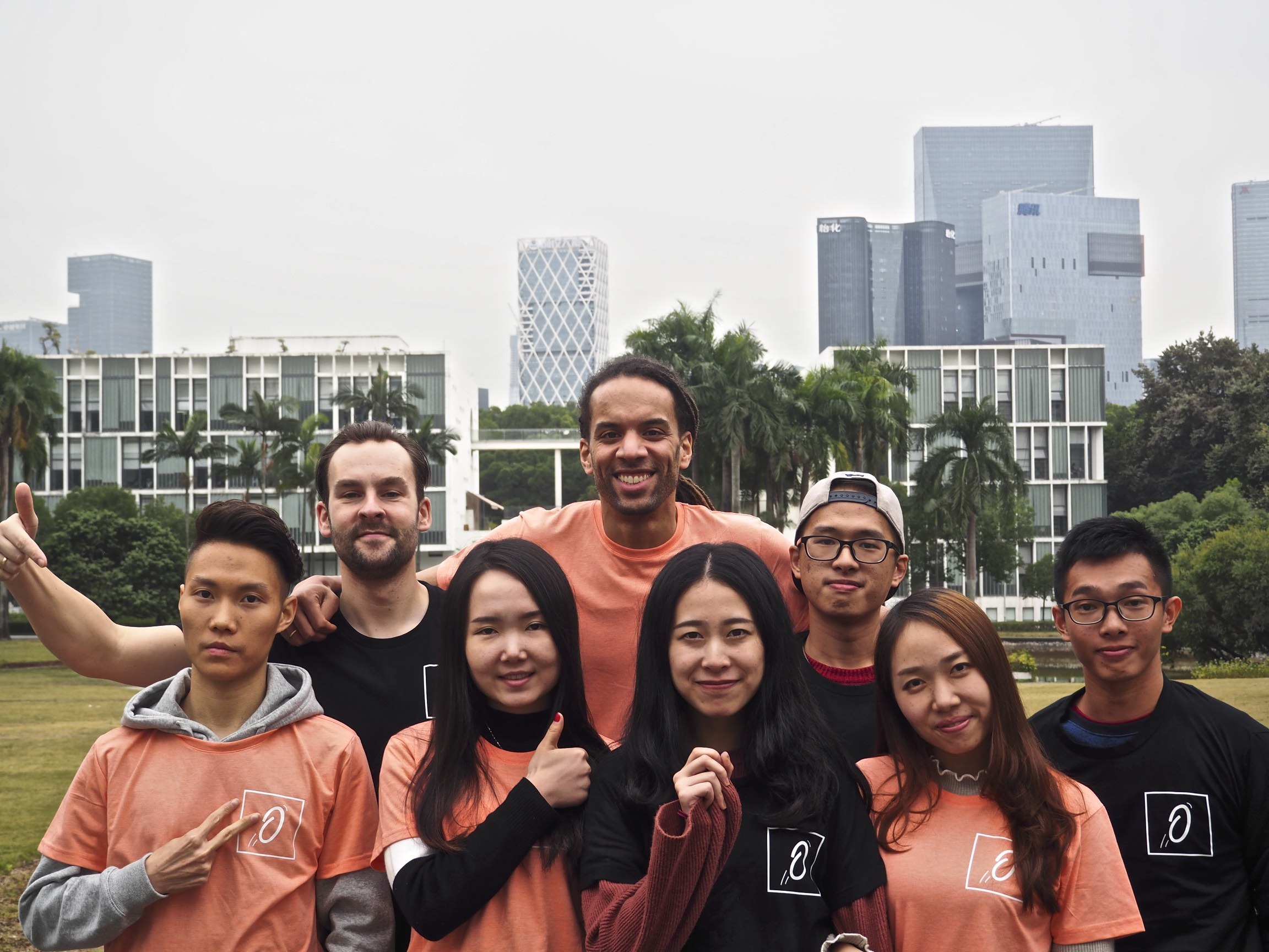 Team Ollie x China 2017 - van links naar rechts: Jeremy, Benjamin, June, Chudi, Jadelf, Kecho, Amy & Jin Dong