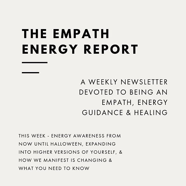 In this week's Empath Energy Report I talk about the following:⠀ ⠀ - The upcoming energy from now until Halloween; the veil is getting even thinner (or for some of us it's gone completely) and what this means for us.⠀ ⠀ - How we're moving into more heightened versions of ourselves and what the signs & symptoms of this transition have been - and what they will continue to be as we move through this time until Jan 2020.⠀ ⠀ -How we co-create & manifest with the universe is changing (because we're changing) and what you need to know so that you can continue & improve how you navigate your experience manifesting what it is that you desire in your life.⠀ ⠀ Link is in my bio to sign up for the weekly newsletter. ⠀ ⠀ In Grace & Peace,⠀ xo. Tanya
