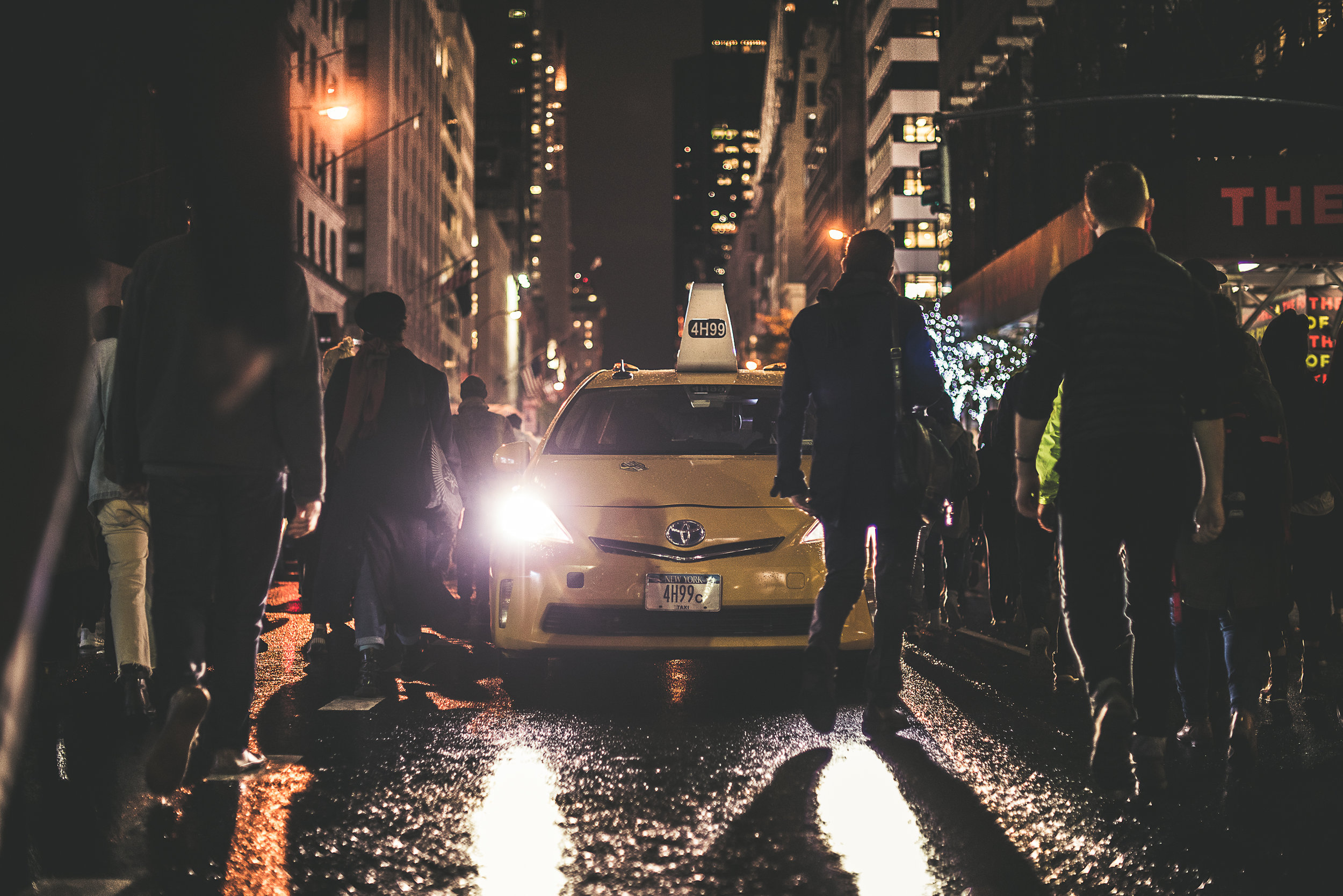 """A Taxi stuck in the middle of one of the busiest cities in the World; New York City on 11/9/16 during a protest. #Allthingsmatter  """"When you hit the road, you always assume that you're going to reach your destination. You are so sure about where you're heading in your life that you don't pay attention the little changes. Little changes can make a huge difference. Sometimes they keep you from arriving in time to work but sometimes they keep you from reaching your destination at all.""""  - Eana Georgiana Cătălina"""