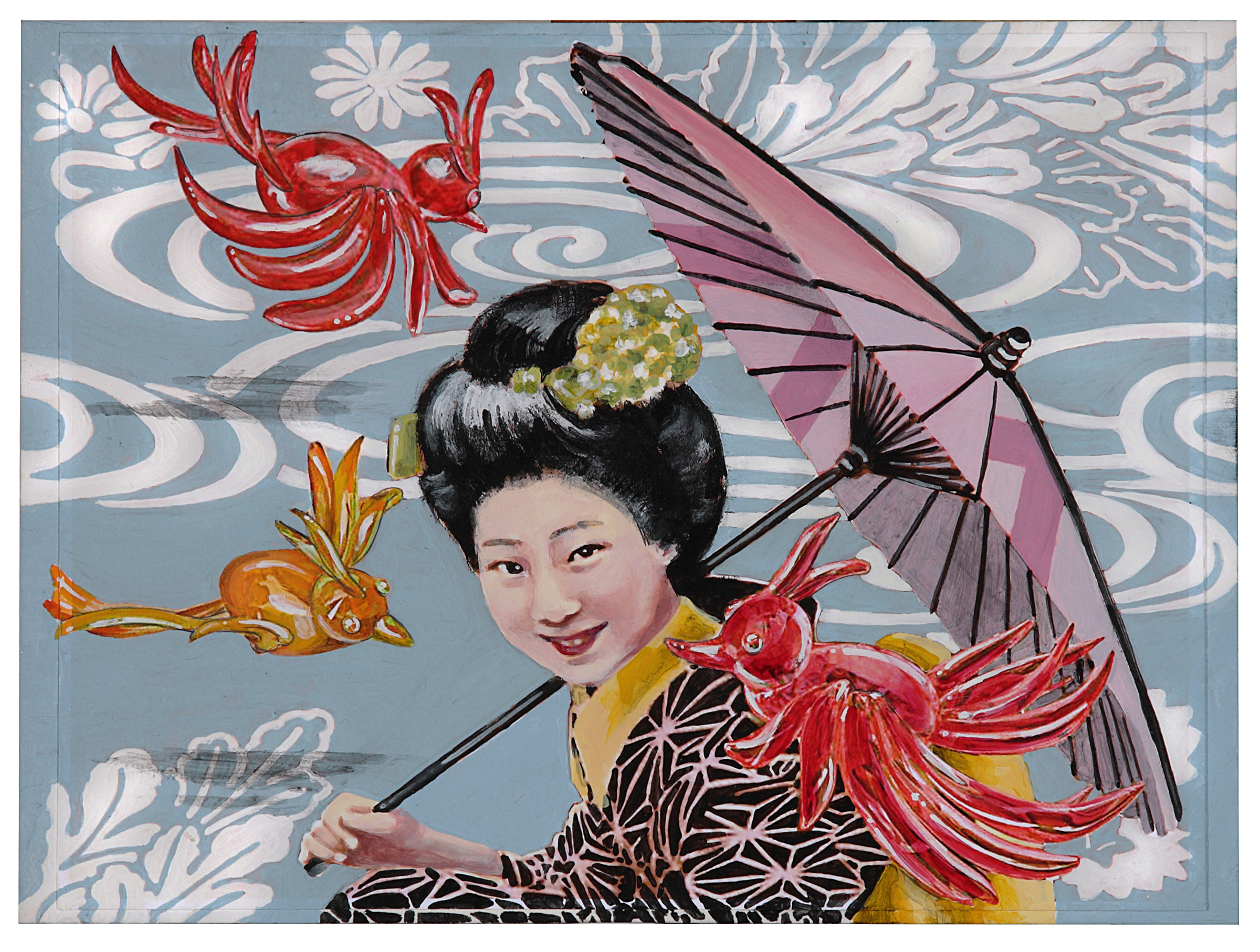 Geisha with Birds