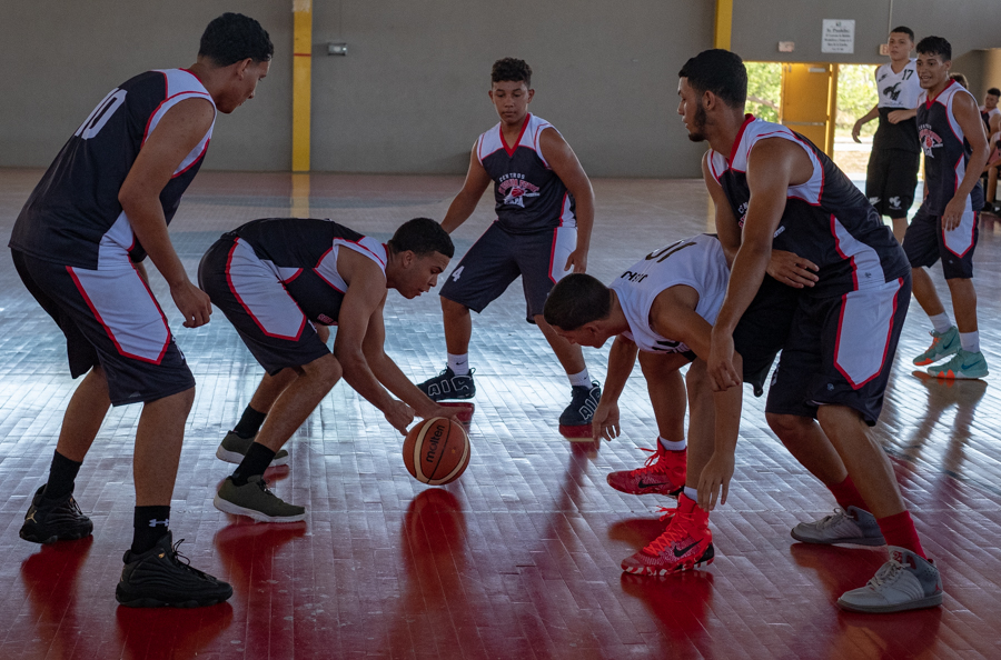 Intramural sports...a basketball game in a modern gymnasium