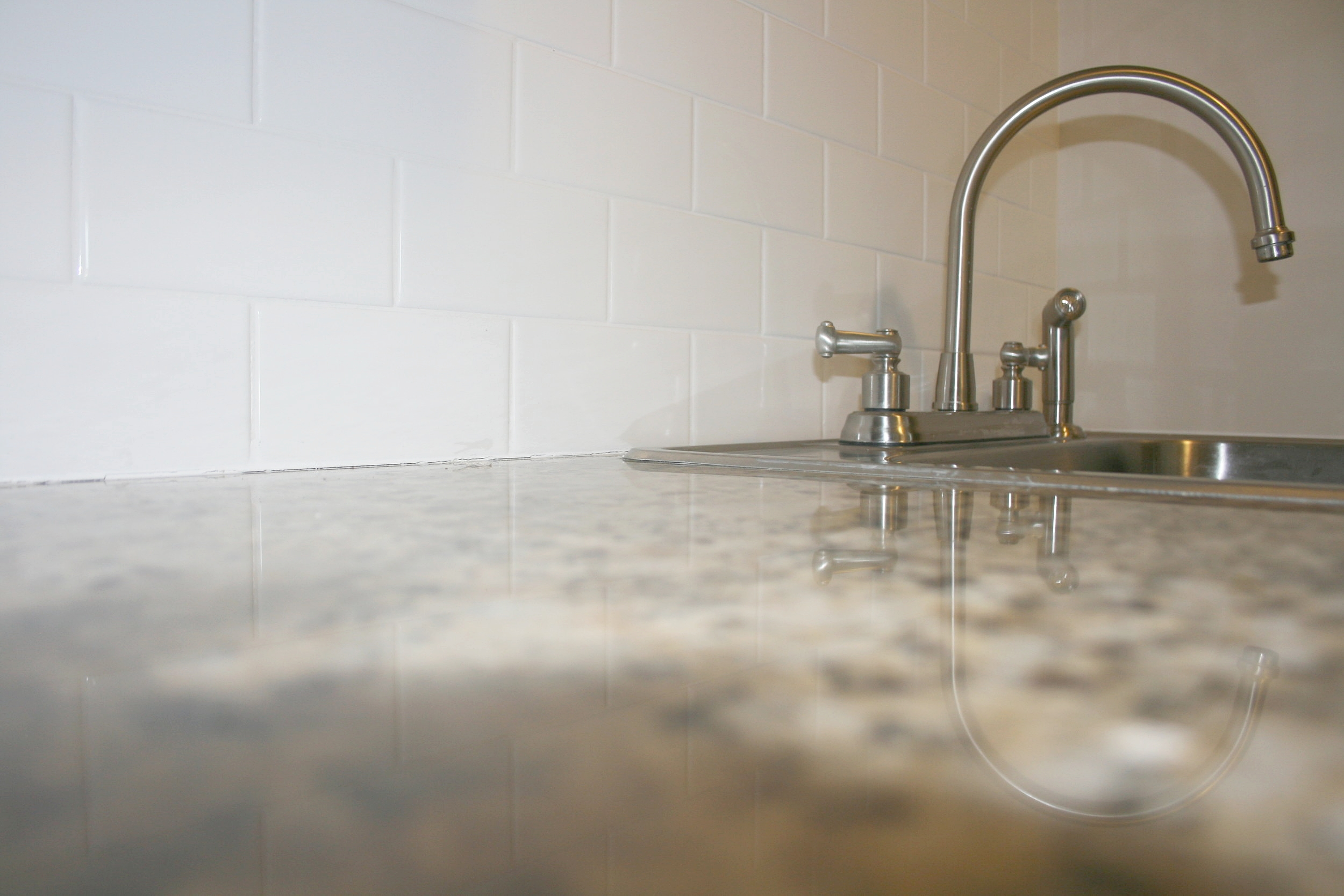 Granite countertops with stainless steel features