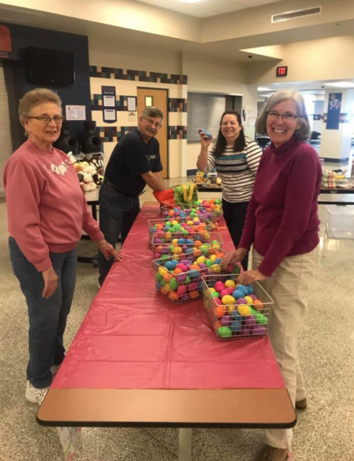 """Many volunteers joined us for our """"Egg"""" stra special event at the middle school for Easter."""
