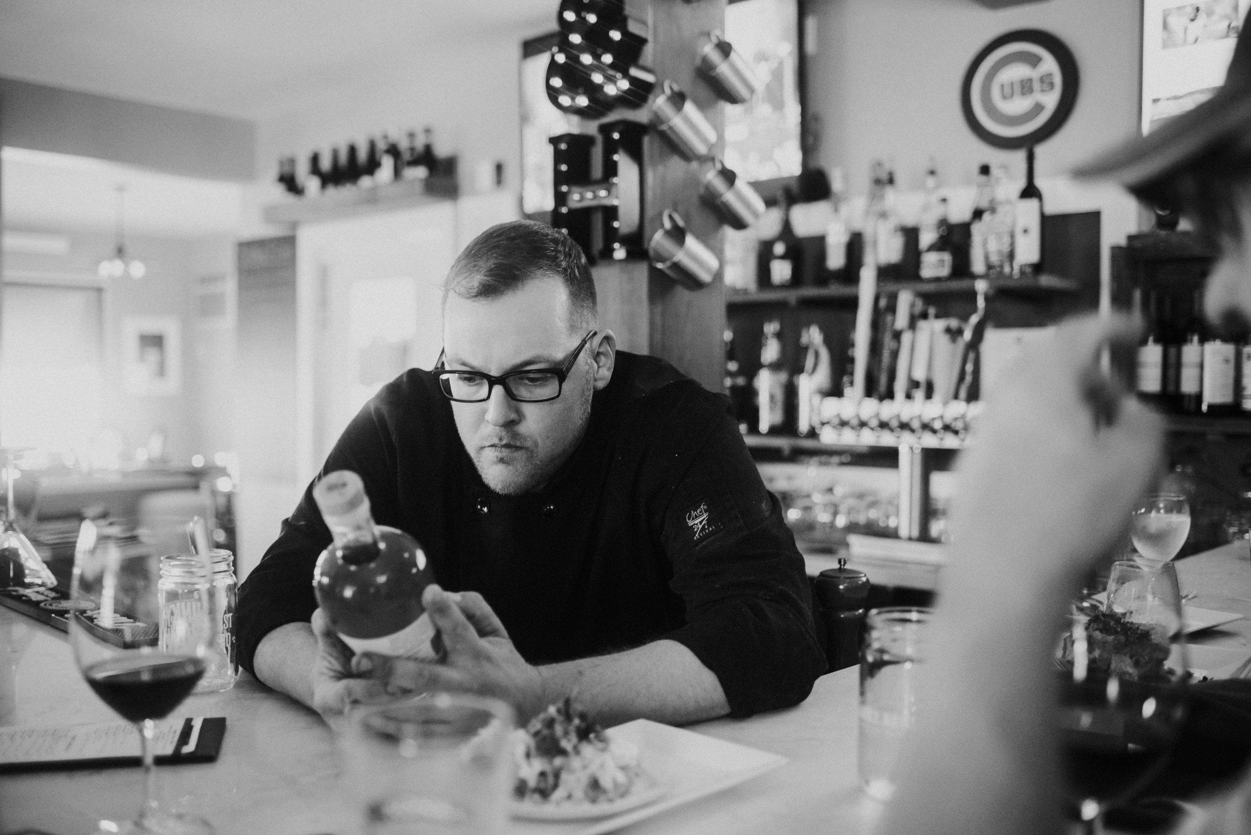Chef Jackson Yordon at the Salt & Honey Restaurant's bar in Kennebunkport, Maine.