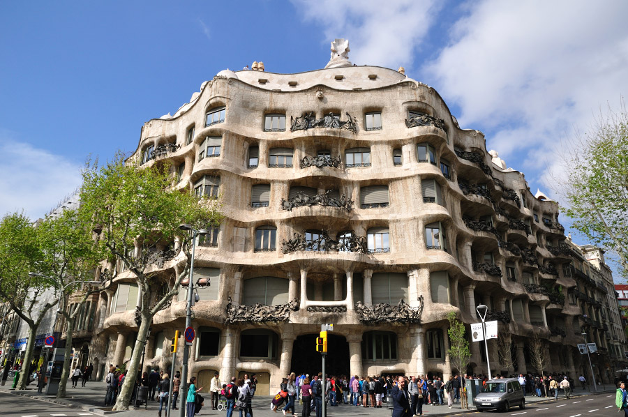Casa Milà, Barcelona Spain.  Built between 1906 and 1912 as a personal home for the Milà family.