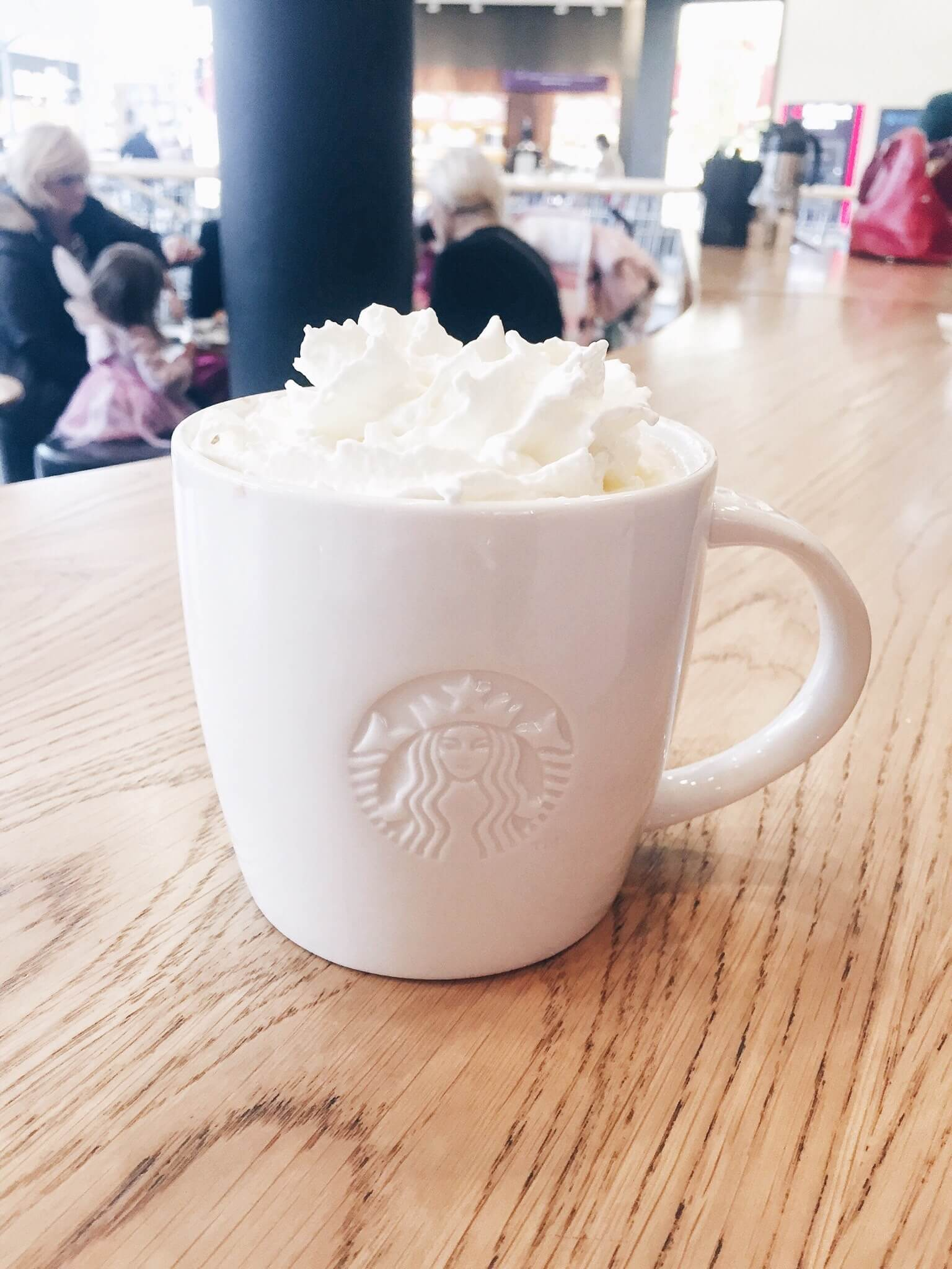 A white chocolate mocha from Starbucks, whilst on a trip to Bluewater