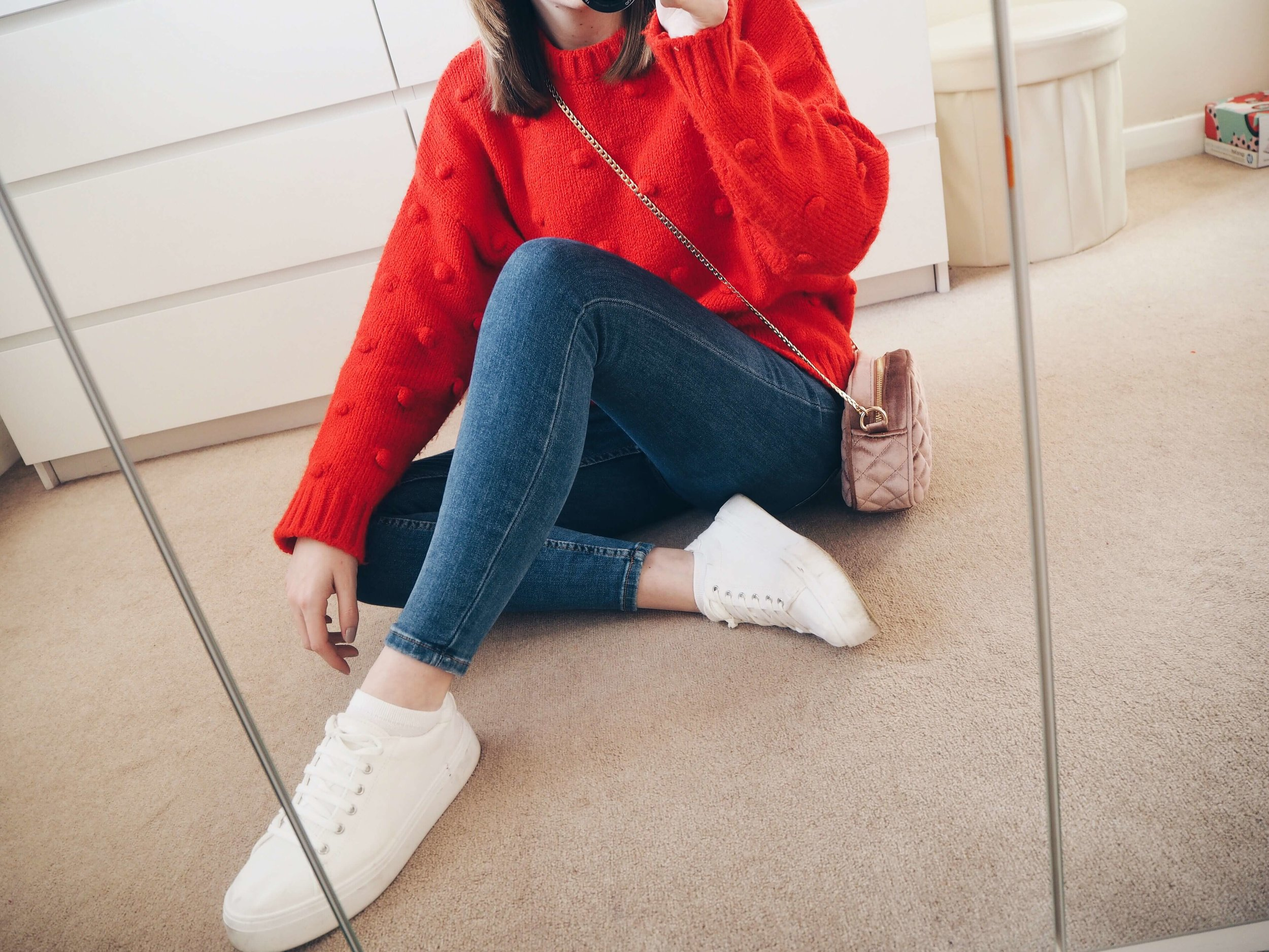 Red Jumper Winter Outfit Style