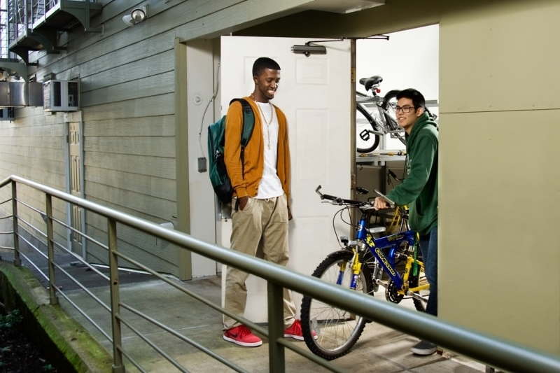A secure bike room to keep your transportation to UO classes safe.  A must have in Eugene, Oregon.