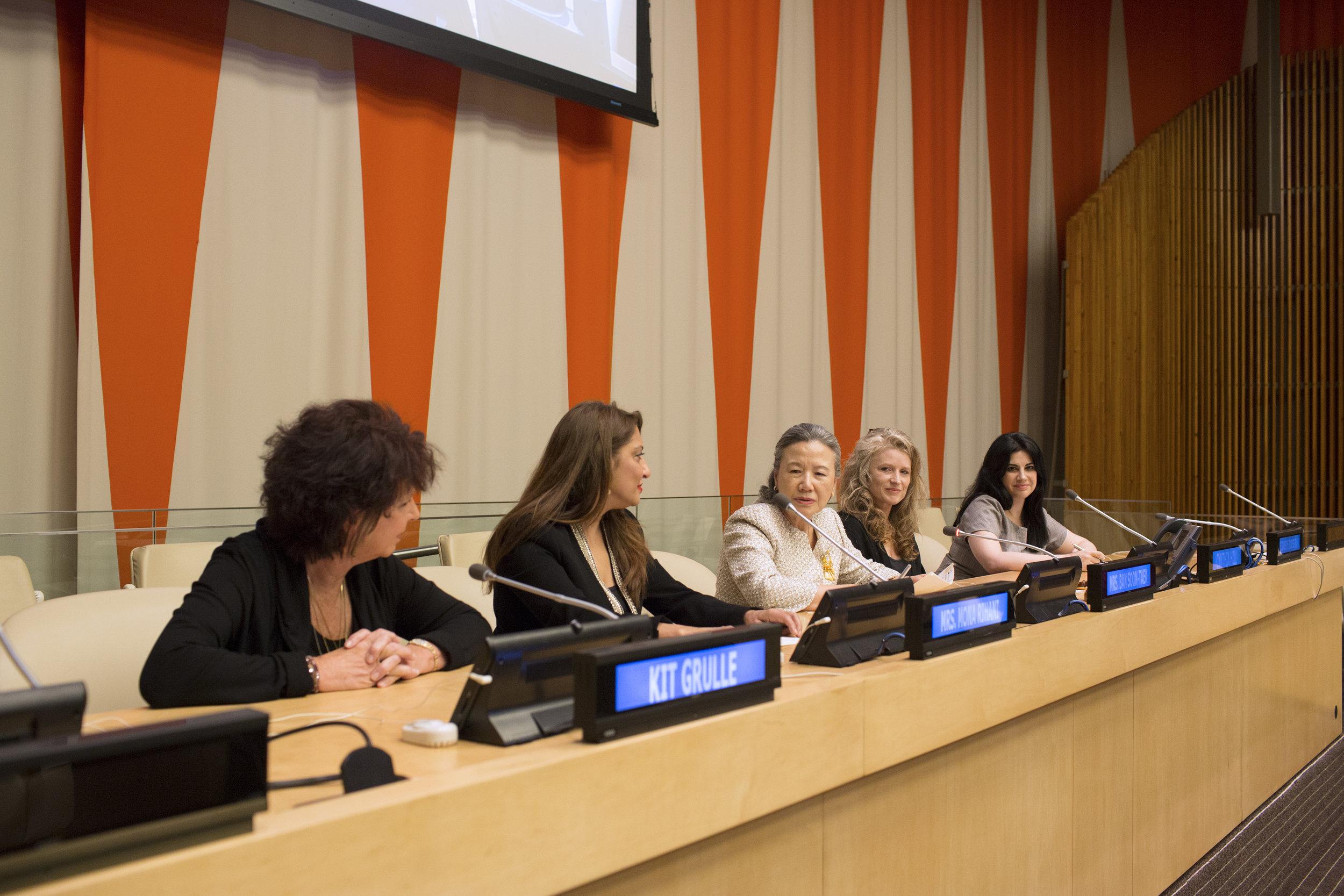 The Speakers Panel- Kit Gruelle, Muna Rihani Al-Nasser, H.E. Ban Soon-taek,  Filmmaker Cynthia Hill and Elizabeth Flores .JPG