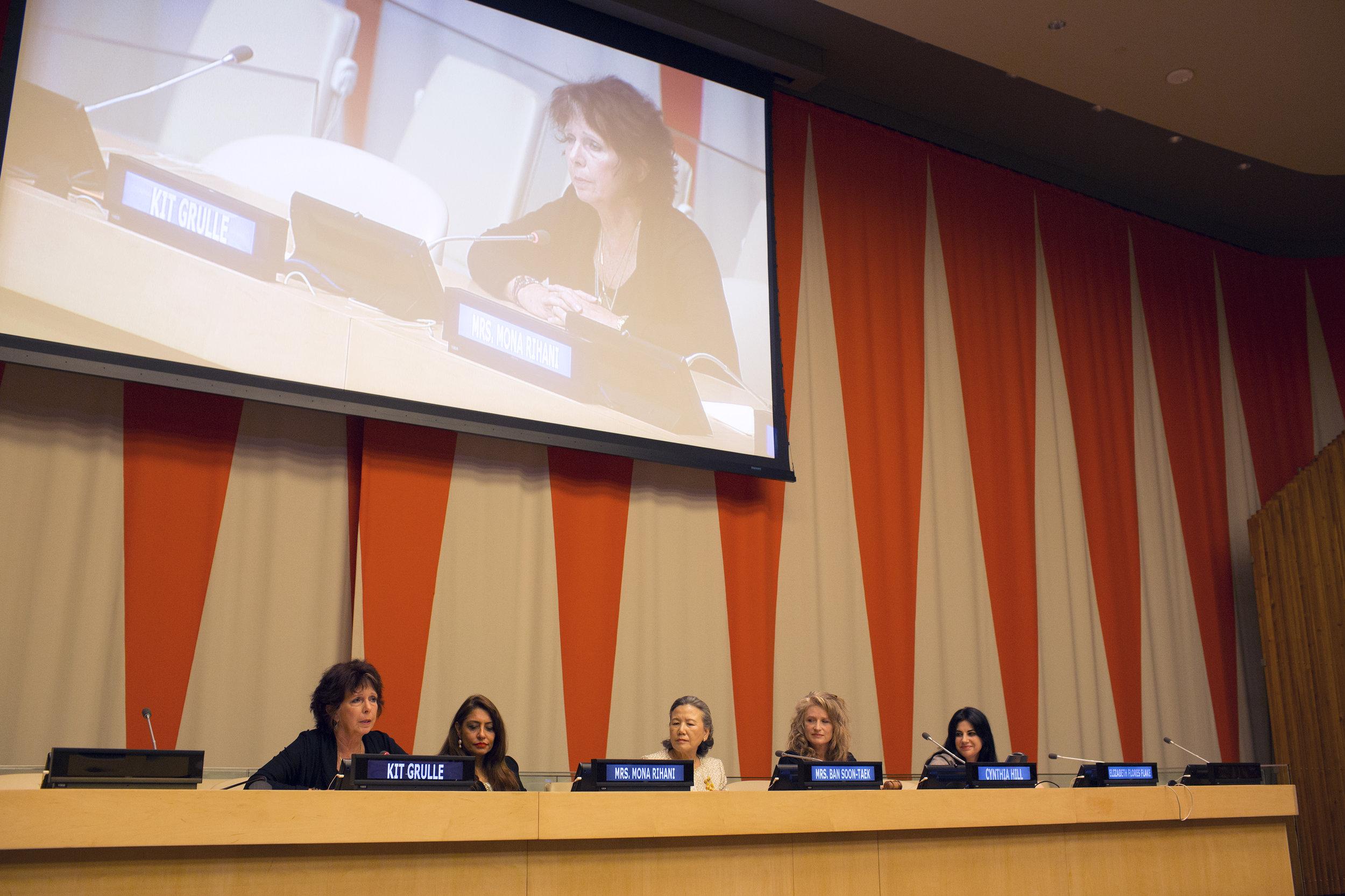 The Speakers Panel- Kit Gruelle, Muna Rihani Al-Nasser, H.E. Ban Soon-taek,  Filmmaker Cynthia Hill and Elizabeth Flores U.N. Ambassador of Honduras B.JPG