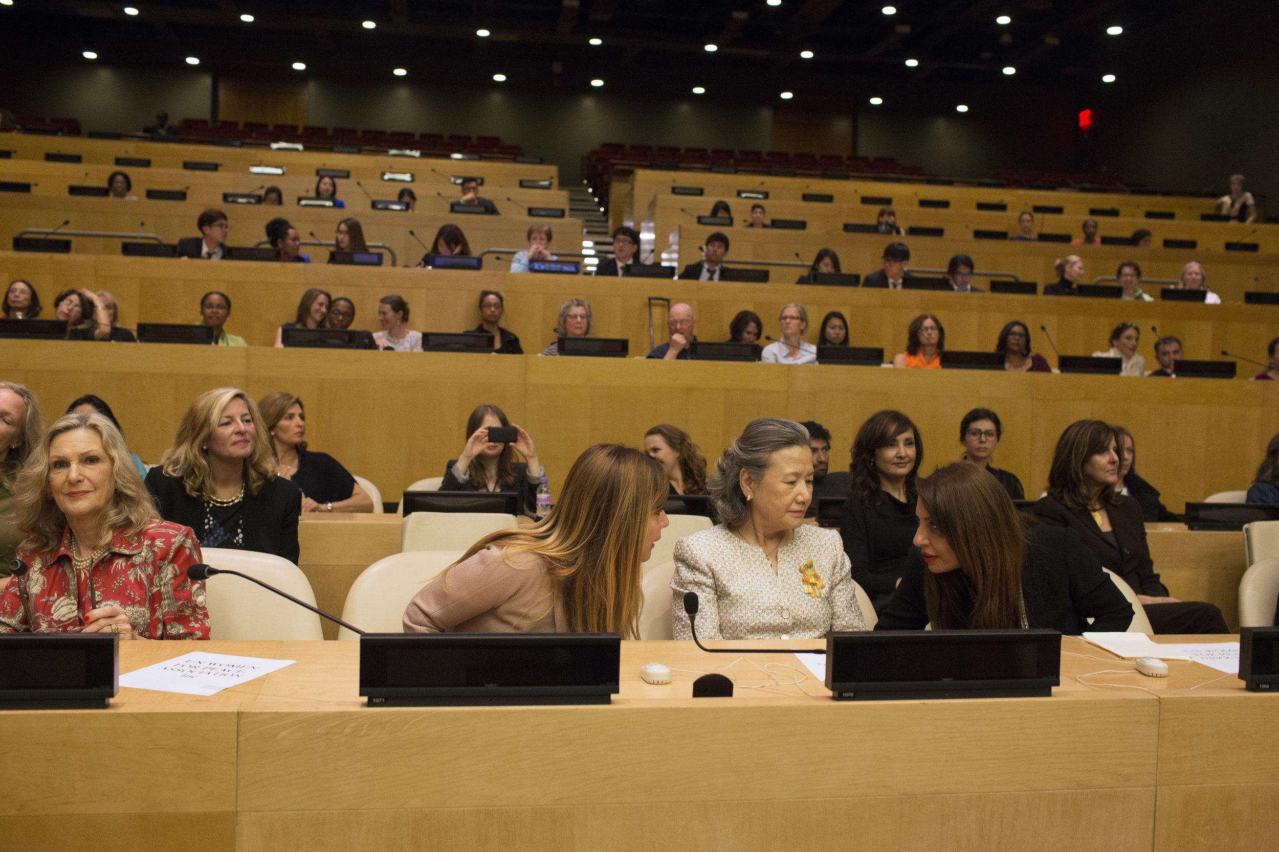 The Speakers Panel- Kit Gruelle, Muna Rihani Al-Nasser, H.E. Ban Soon-taek,  Filmmaker Cynthia Hill and Elizabeth Flores U.N. Ambassador of Honduras C.JPG