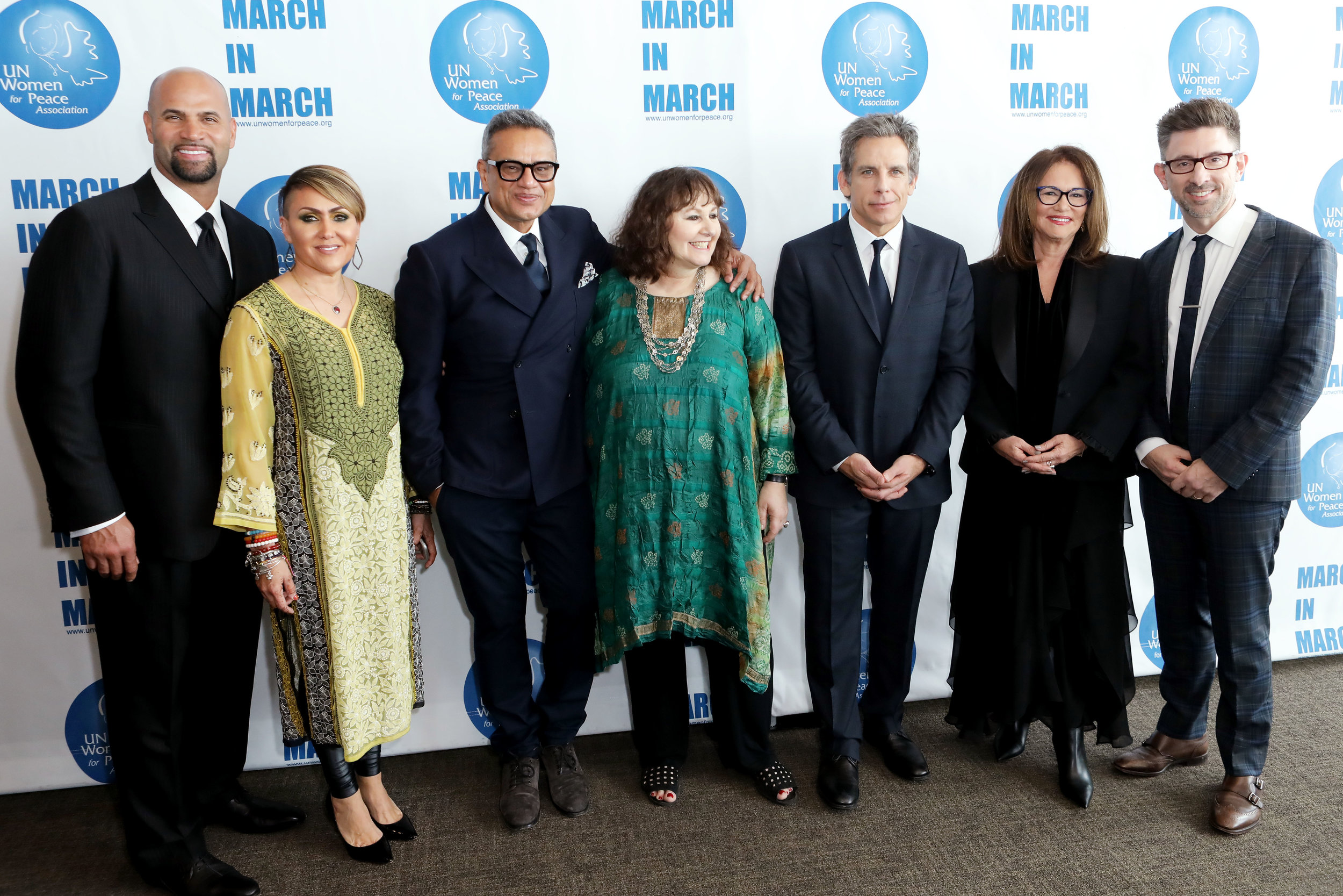 2019 UN Women for Peace Association Annual Awards Luncheon Honorees Albert Pujols, Deidre Pujols, Naeem Khan, Leslee Udwin, Ben Stiller, Robin Stern and Marc Brackett at United Nations Headquarters on March 1, 2019.