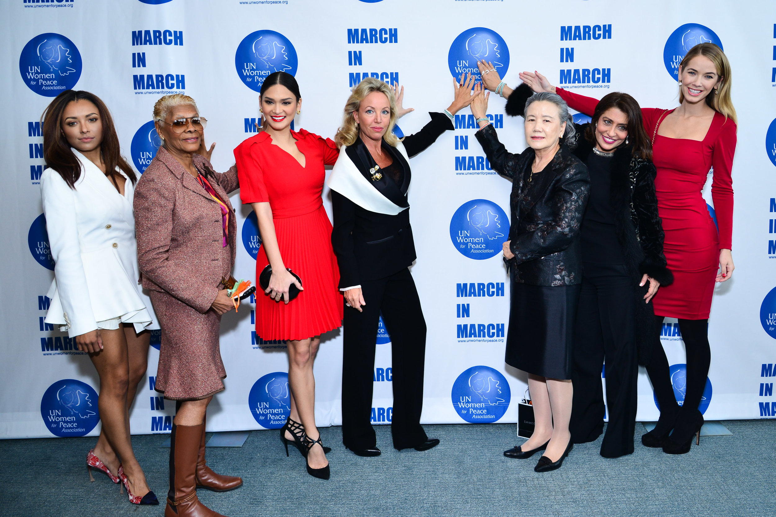 Kat Graham, Dionne Warwick, Pia Wurtzbach, Princess Camilla Duchess of Castro, Mrs. Ban Soon-Taek, Dame Muna Rihani Al-Nasser & Olivia Jordan at the UN Women For Peace Association Annual Awards Luncheon on March 4, 2016
