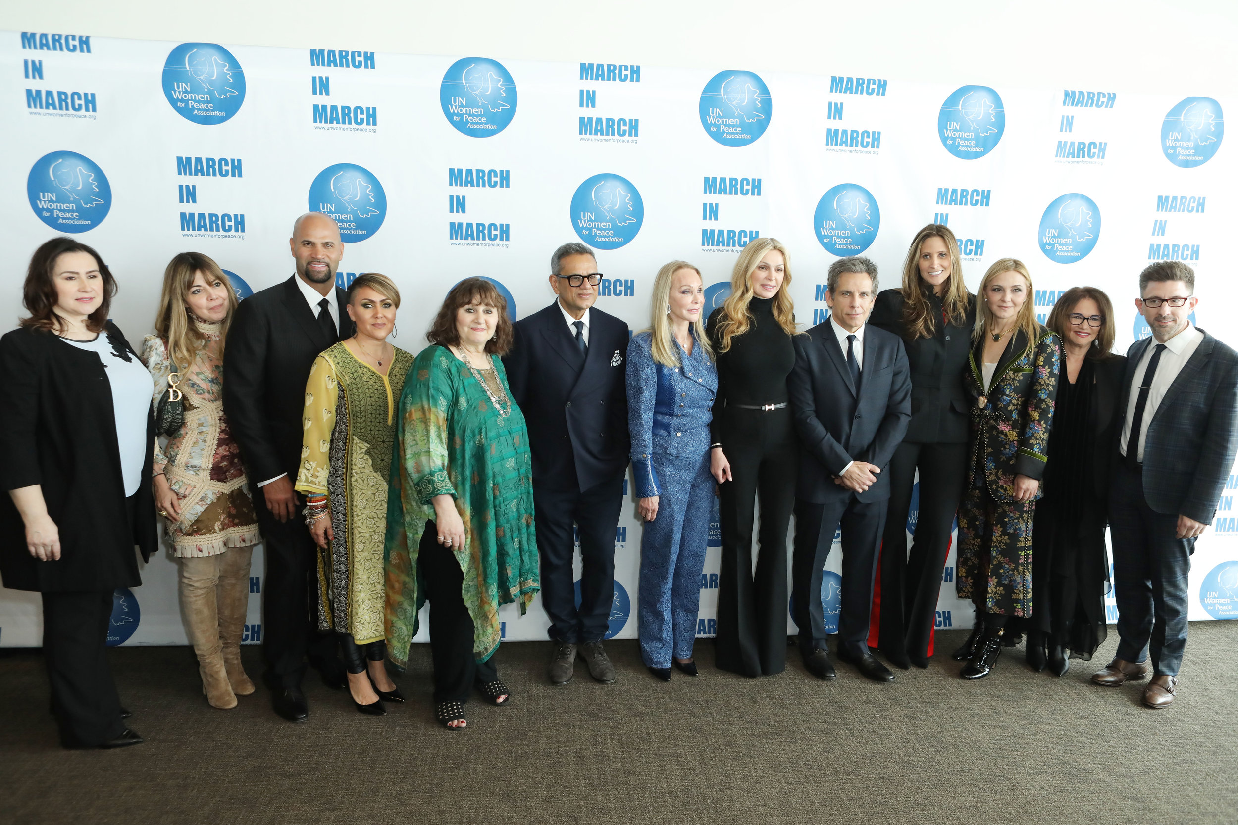 UNWFPA board member Valbona Neritani, UNWFPA Vice President Rema Dupont, Albert and Deidre Pujols, Leslee Udwin, Naeem Khan, UNWFPA President Barbara Winston, Sheikha Rima Al-Sabah, Ben Stiller, UNWFPA Board Member Stephanie Winston Wolkoff, UNWFPA Treasurer Michal Grayevsky, Dr. Robin Stern and Dr. Marc Brackett at the 2019 Annual Awards Luncheon