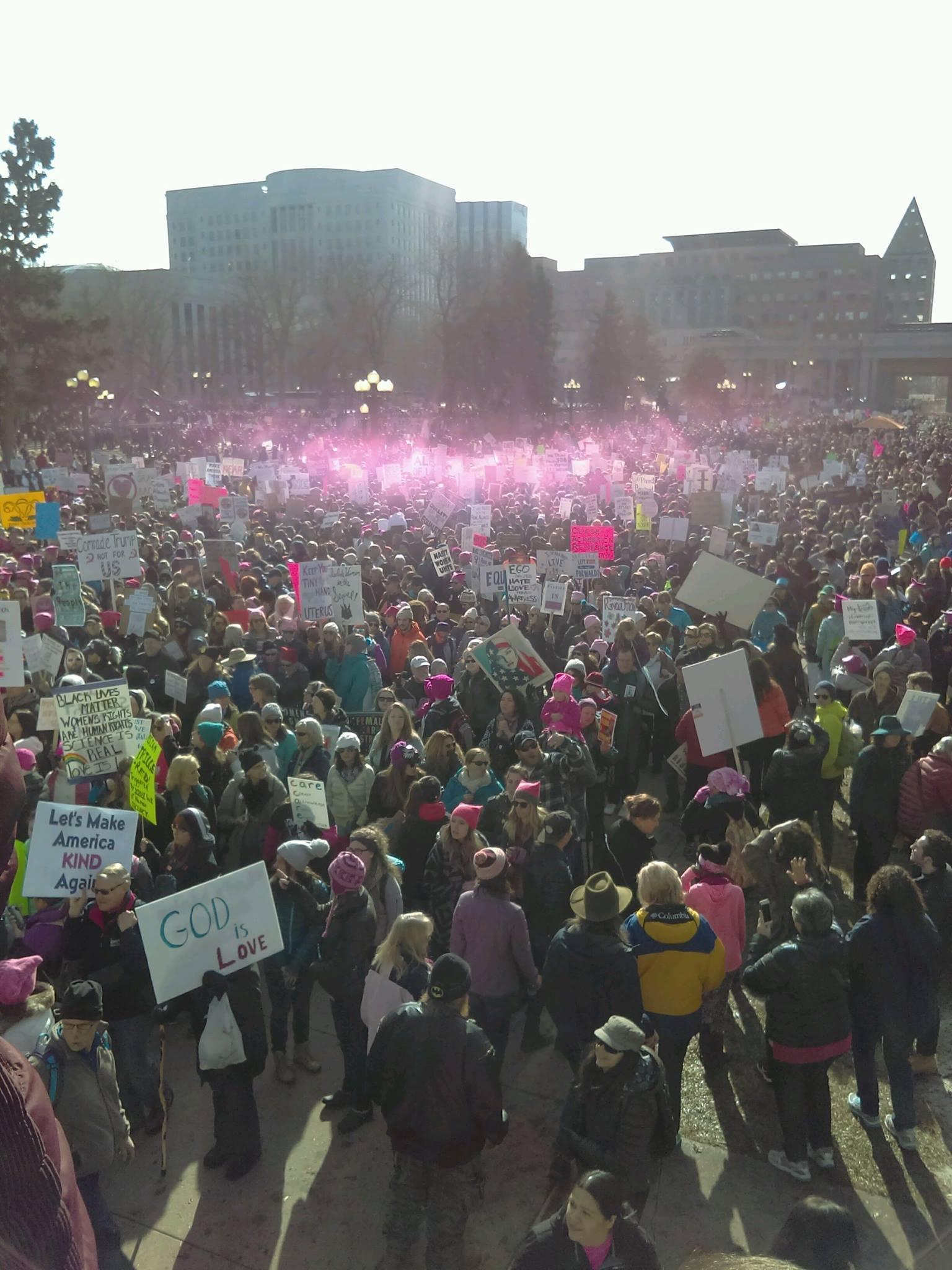 A collective pink aura captured at a recent women's march.