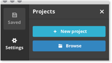 Click to start a new project