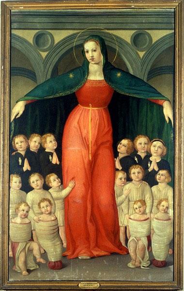 di Michelino, Domenico.  Madonna of the Foundlings.  1446. Painting. Ospedale degli Innocenti di Firenze, Florence.