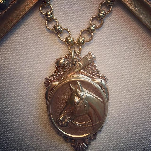 Speaking of being a lover of all things equestrian, just had to post this recent custom design. It has to be one of my favorites! The vintage brass horse medallion has the most wonderful detail, I just love the beauty of the horses's face. I mounted the round medallion onto an antique French brass piece and made a hole to attach a necklace chain which is an antique French design as well. All of the three individual pieces came together perfectly to create a one of a kind, handcrafted heirloom piece of jewelry. #southerntastemakers #alexanderscottinteriors #handcrafted #heirloomjewelry #southernlivingmag #antiquejewelry
