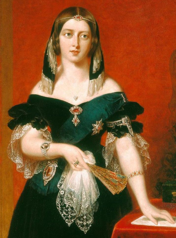Garnets were highly popular in Europe, in the 18th and 19th centuries. They were frequently used for jewellery in Victorian times.  Queen Victoria wearing a garnet ferroniere (jewelled headband) and garnet brooch, United Kingdom (ca. 1840