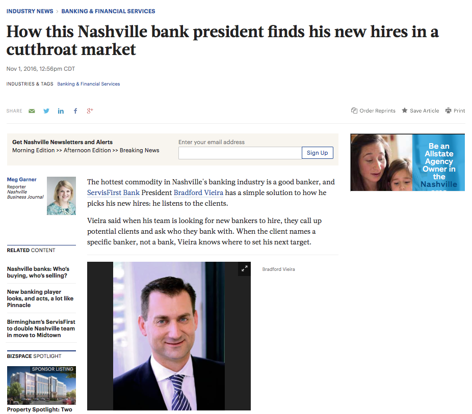 "NASHVILLE BUSINESS JOURNAL: SERVISFIRST BANCSHARES      ""HOW THIS NASHVILLE BANK PRESIDENT FINDS HIS NEW HIRES IN CUTTHROAT MARKET"""