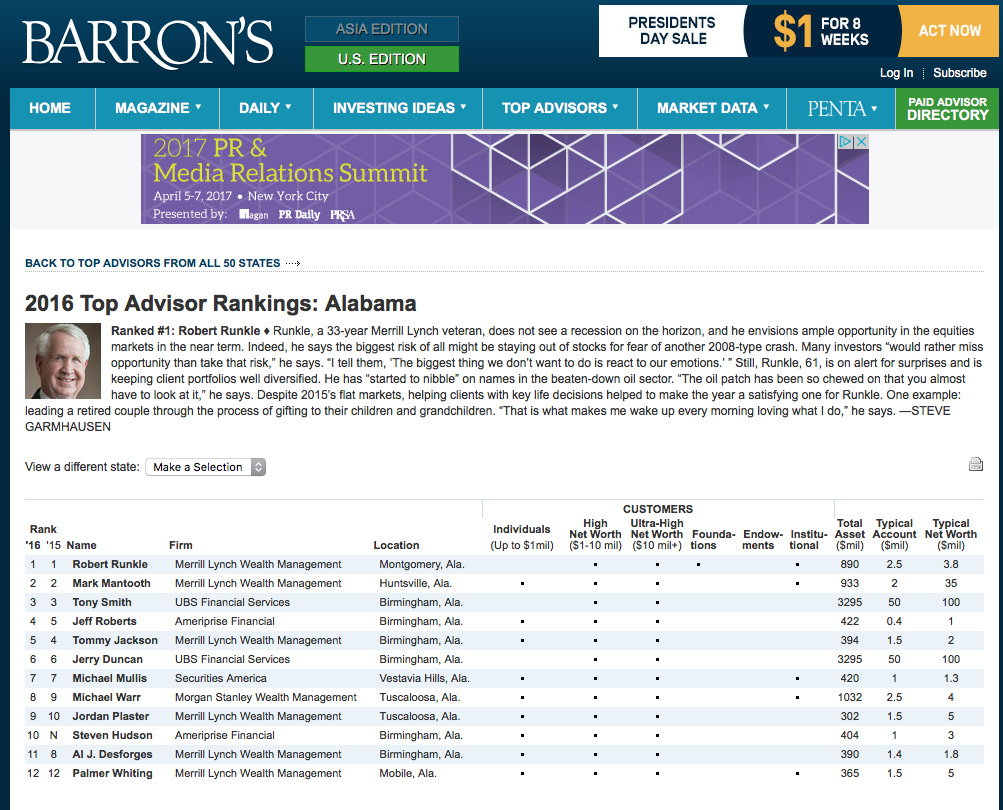 "BARRONS: KELLEY & MULLIS      ""Best Financial Advisor Rankings: Alabama"""