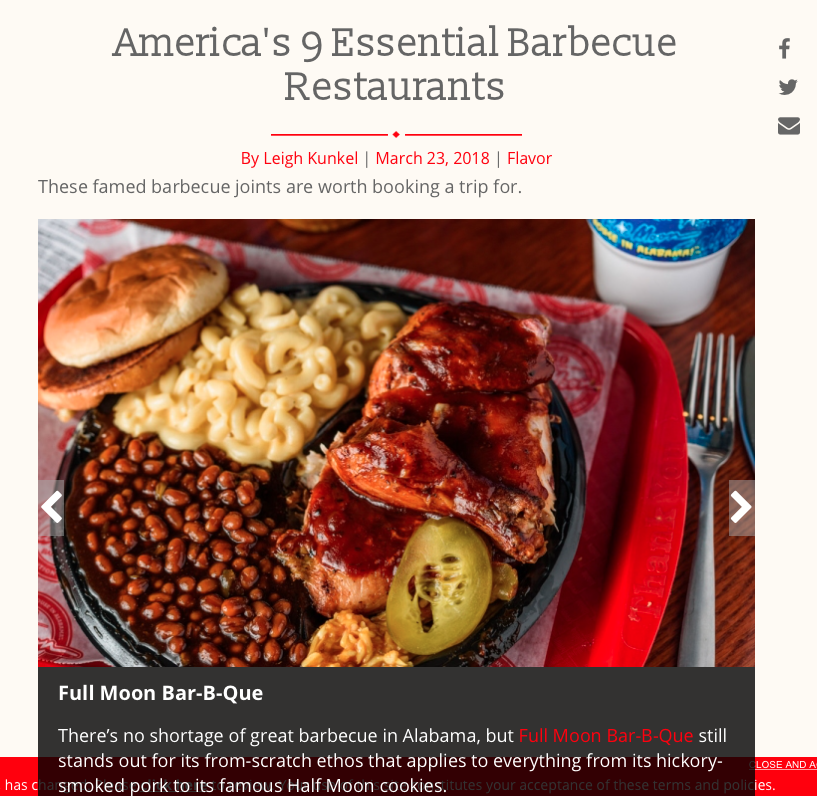 "Full Service Restaurant Magazine: Full Moon BBQ      ""America's 9 Essential Barbecue Restaurants"""