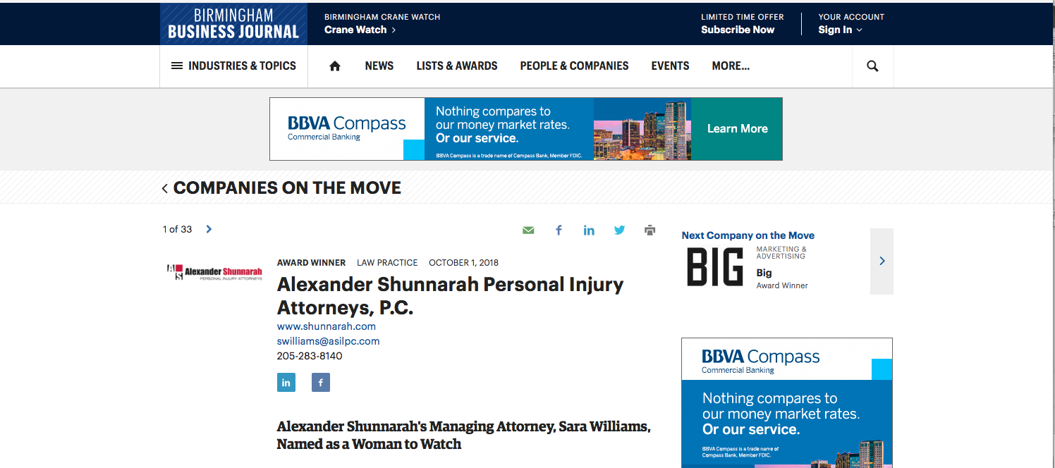 "BBJ: Award Winner     ""Alexander Shunnarah's Managing Attorney, Sara Williams, Named as a Woman to Watch"""
