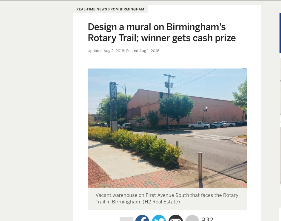 "AL.com: real-time news from birmingham    ""design a mural on birmingham's rotary trail; winner gets cash prize'"