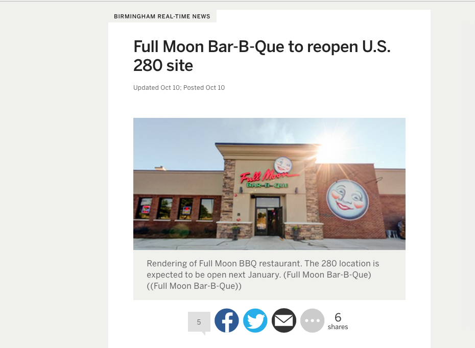 "al.com: Birmingham real-time news     ""full moon bar-b-que to reopen u.s. 280 site"""