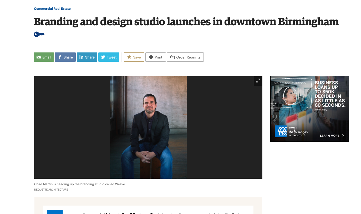 "BBJ     ""Branding and design studio launches in downtown birmingham"""