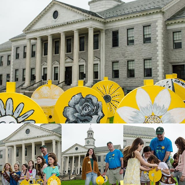 "Yellow is in full bloom in Madison, NJ as we officially kicked off Madison INTOyellow with the installation of (y)our ""Pollination"" collaborative public art project. Thank you Mayor Conley, Girl Scout Troop 6585 and Julia Ferrenti, President of MHS National Art Honor Society for representing the 100 community members who collaborated on this project!"